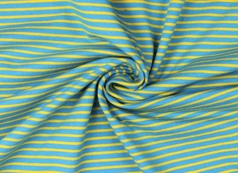 Jeans-gelber Baumwolljersey: Streifen - 155 cm kaufen im Makerist Materialshop