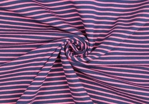 Dunkelblau-pinker Baumwolljersey: Streifen - 155 cm kaufen im Makerist Materialshop