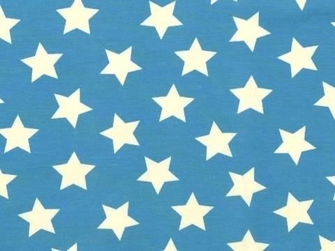 Türkisfarbener Baumwolljersey: Maxi Stars - 150 cm  kaufen im Makerist Materialshop