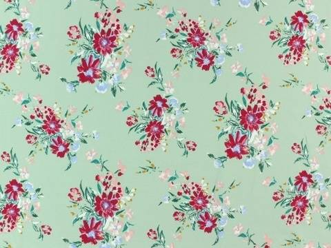 Mintfarbener Baumwolljersey: French Terry Aquarel Flower - 160 cm kaufen im Makerist Materialshop
