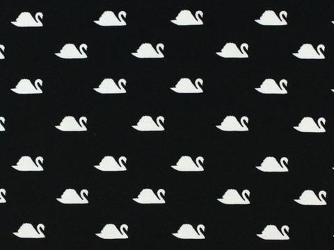 Schwarzer Baumwolljersey: Little Swan - 150 cm kaufen im Makerist Materialshop