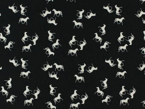 Schwarzer Baumwolljersey: Wilde Horses - 150 cm kaufen im Makerist Materialshop