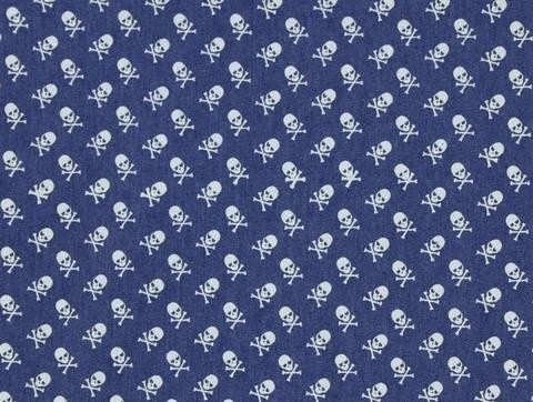 Blauer Jeansstoff: Totenköpfe - 140 cm kaufen im Makerist Materialshop