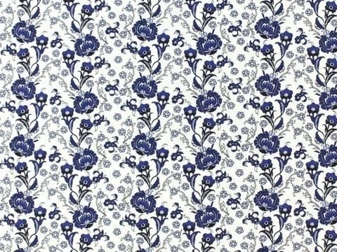 Weiß-blauer Baumwolljersey: Blue Flower - 150 cm kaufen im Makerist Materialshop