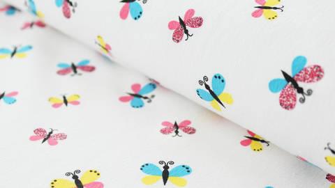 Weißer Baumwolljersey Sparkling Print: Butterfly - 150 cm - ARCHIVIERT - kaufen im Makerist Materialshop