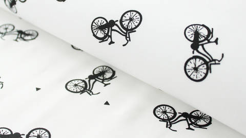 Schwarz-weißer Baumwollstoff: Bicycle - 150 cm kaufen im Makerist Materialshop