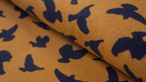 Senfgelber Jersey: Megan Blue Birds - 150 cm kaufen im Makerist Materialshop