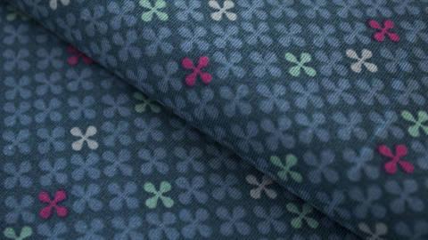 Jeansfarbener Jersey: Clovers - 150 cm kaufen im Makerist Materialshop