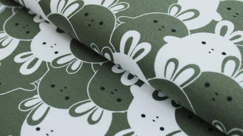 Grün und weißer Baumwolljersey: Bunny - 150 cm kaufen im Makerist Materialshop