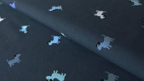 Jeansfarbener Baumwolljersey: Puppies - 150 cm kaufen im Makerist Materialshop
