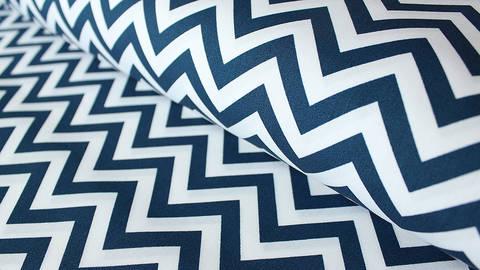 Weiß-blauer Baumwollstoff: Herringbone - 150 cm kaufen im Makerist Materialshop