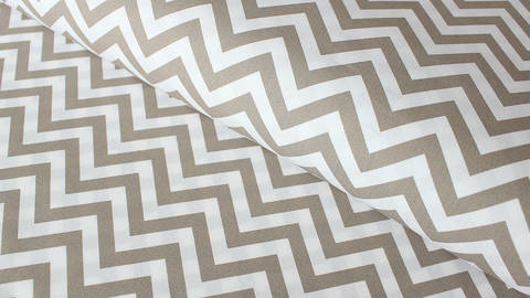 Weiß-taupefarbener Baumwollstoff: Herringbone - 150 cm kaufen im Makerist Materialshop
