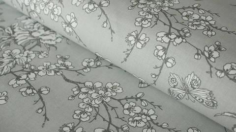 Grauer Baumwollstoff: Kirschblüten - 140 cm kaufen im Makerist Materialshop