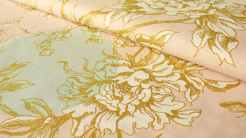 Rosa-mint beschichteter Baumwollstoff: Goldene Kirschblüten - 140 cm kaufen im Makerist Materialshop