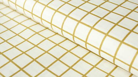 Weiß-gold beschichteter Baumwollstoff: Karos - 140 cm kaufen im Makerist Materialshop