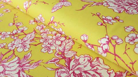 Gelber beschichteter Baumwollstoff: Kirschblüten - 140 cm kaufen im Makerist Materialshop