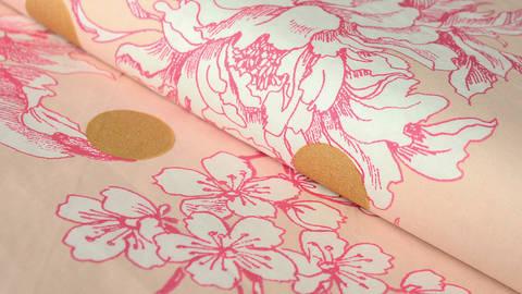 Rosafarbener beschichteter Baumwollstoff: Kirschblüten und Punkte - 140 cm kaufen im Makerist Materialshop