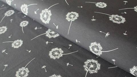 Grau-weißer Baumwolljersey: Dandelion - 150 cm kaufen im Makerist Materialshop