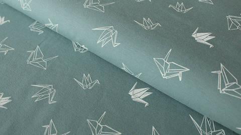 Petrol-weißer Baumwolljersey: Origami Swan - 150 cm kaufen im Makerist Materialshop
