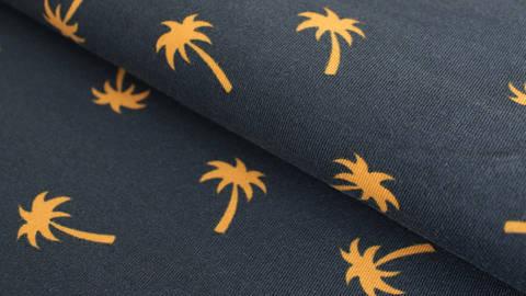 Navy-senf-farbener Jersey: Megan Blue Palm Tree - 150 cm kaufen im Makerist Materialshop