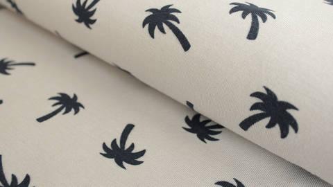 Silberner Jersey: Megan Blue Palm Tree - 150 cm kaufen im Makerist Materialshop