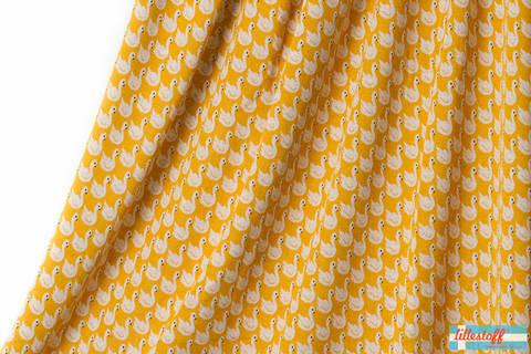 Senfgelber Jacquard lillestoff: Swan Lake - 130 cm kaufen im Makerist Materialshop