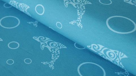 Blauer Jerseystoff: Bubbles Delphin - 150 cm kaufen im Makerist Materialshop