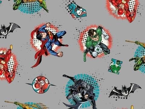 Grauer Lizenz Baumwolljersey: Superheroes - 145 cm kaufen im Makerist Materialshop