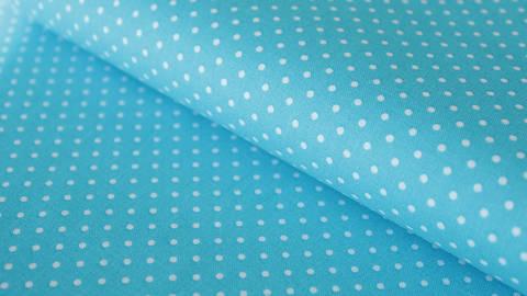 Helltürkisfarbener Polka Dot Baumwollstoff: Judith - 148 cm kaufen im Makerist Materialshop
