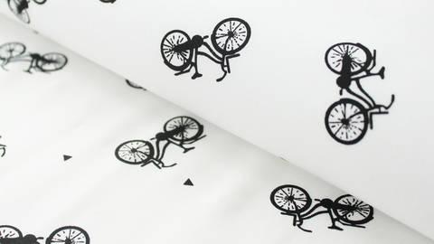 Schwarz-weißer Baumwolljersey: Bicycle - 150 cm kaufen im Makerist Materialshop