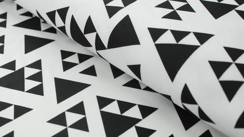 Schwarz-weißer Baumwolljersey: Pyramide - 150 cm kaufen im Makerist Materialshop