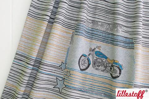 Grauer Bio-Jersey lillestoff Rapport: Motorrad - 150 cm kaufen im Makerist Materialshop
