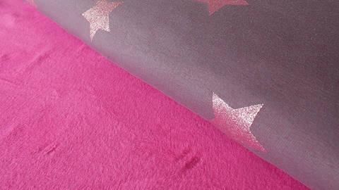 Auberginefarbener Happy Fleece: Sterne - 150 cm kaufen im Makerist Materialshop