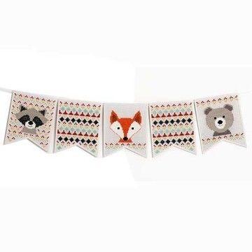 Stickpackung Wimpelkette: Tiere - 16,5 × 20,5 cm - Materialsets kaufen im Makerist Materialshop