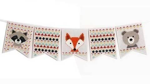 Stickpackung Wimpelkette: Tiere - 16,5 × 20,5 cm kaufen im Makerist Materialshop