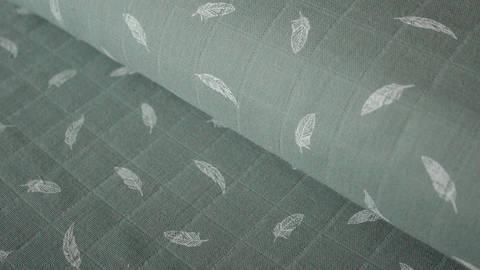 Mintfarbener Baumwollstoff Print Musselin: Feder - 140 cm kaufen im Makerist Materialshop