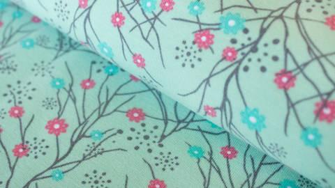 Mintfarbener Jersey: Megan Blue Mille Fleur - 150 cm kaufen im Makerist Materialshop