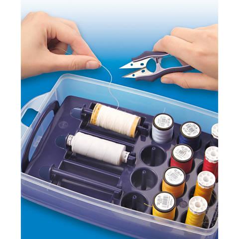 Click Box mit Sortiereinsatz für Nähgarne ca. 24x16,5x8 cm transparent/pflaumenblau kaufen im Makerist Materialshop