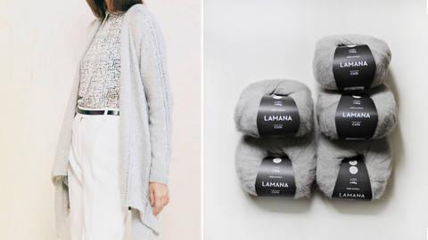 Luftige Strickjacke Strickset von Lamana in Größe M und L kaufen im Makerist Materialshop