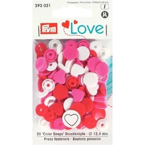 Prym Love Druckknopf Color Herz 12,4 mm rot/weiß/pink kaufen im Makerist Materialshop