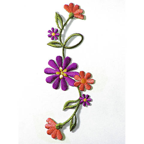 Applikation Blumenranke groß lila/terrakotta kaufen im Makerist Materialshop