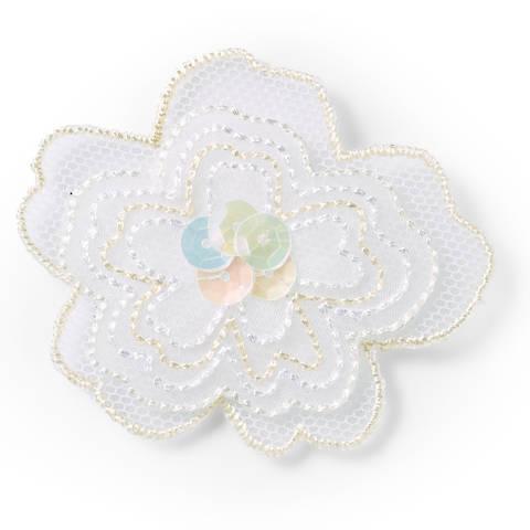 Applikation Blume exklusiv weiß Organza mit Pailletten kaufen im Makerist Materialshop