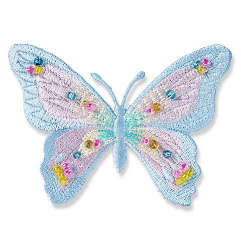 Applikation Schmetterling exklusiv blau pastell mit Perlen kaufen im Makerist Materialshop