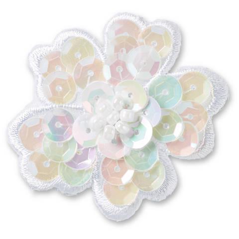 Applikation Paillettenblume weiß kaufen im Makerist Materialshop