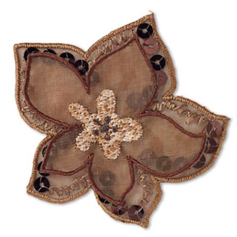 Applikation Blume braun Organza mit Pailletten kaufen im Makerist Materialshop