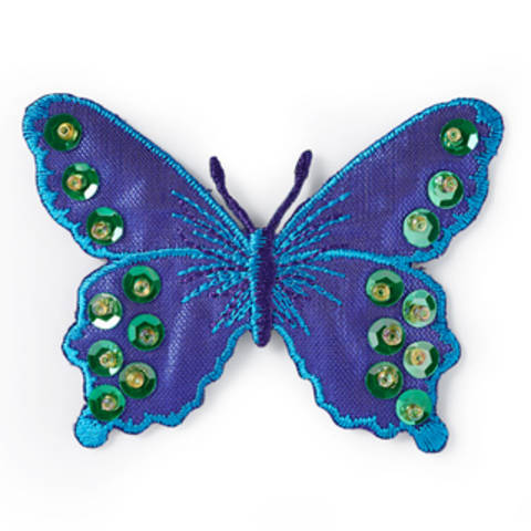 Applikation Schmetterling violett/blau mit Pailletten kaufen im Makerist Materialshop