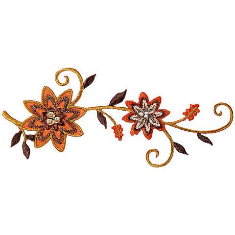 Applikation Blumenranke orange/braun mit Perlen kaufen im Makerist Materialshop