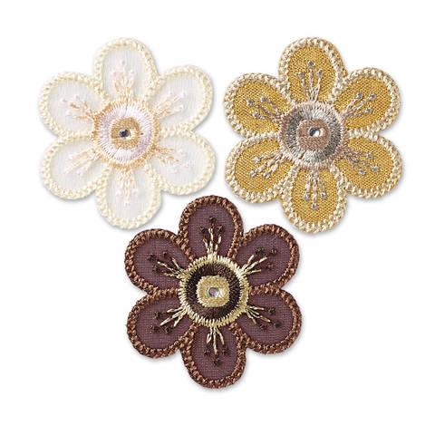 Applikation selbstkl./aufb. Blumen braun/natur kaufen im Makerist Materialshop