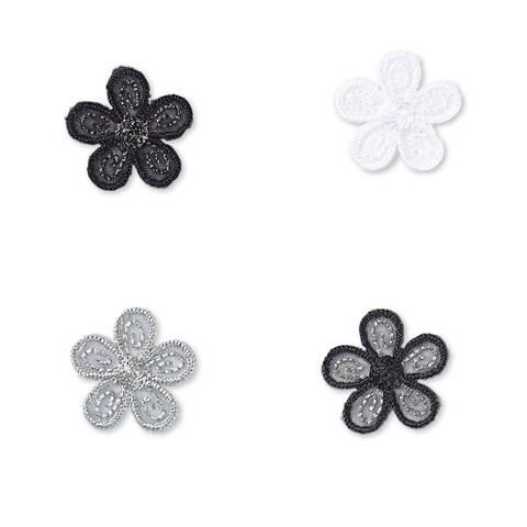 Applikation selbstkl./aufb. Blumen schwarz/hell kaufen im Makerist Materialshop