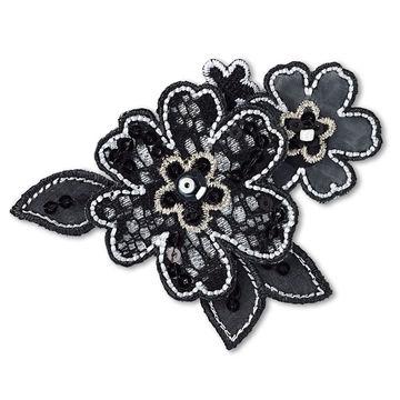Applikation Blumenranke schwarz (A926567) - Kurzwaren und Zubehör kaufen im Makerist Materialshop